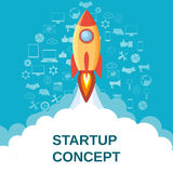 Start up concept flat style. Space rocket launch. Business Icons Pattern Blue Background. Start up concept. Can be used for presentation, web page, booklet Stock Photo