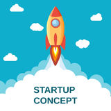 Start up concept flat style. Space rocket launch. Start up concept. Can be used for presentation, web page, booklet. Vector illustration in flat style Royalty Free Stock Photos