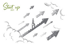 Start up concept. Hand drawn isolated vector. Royalty Free Stock Photography
