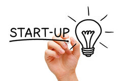 Start-up Concept. Hand writing Start-up concept with black marker on transparent wipe board stock photography