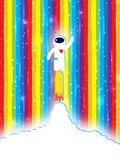 Start Up. Concept ideas, personal success, career growth. rainbow background with shiny particles. cloud place for text Stock Images