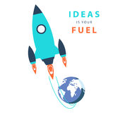 Start up concept: ideas is your fuel. Color vector illustration Stock Photo