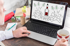 Start up concept on a laptop screen Stock Photography