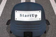 Start up concept poster. Text STARTUP. Office chair on marked runway or highway in start position. Car ID plate on back with royalty free illustration