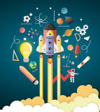 Start up concept. rocket flying education concept Stock Image