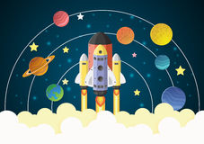 Start up concept. rocket flying on the galaxy. Paper cut royalty free illustration