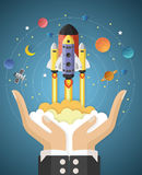 Start up concept. rocket flying on hands Stock Photos