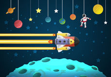 Start up concept. rocket flying on the moon Royalty Free Stock Photos