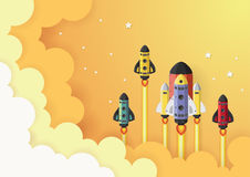 Start up concept. rocket flying on the sky Royalty Free Stock Photography