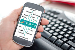 Start up concept on a smartphone Royalty Free Stock Photos