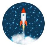 Start up concept space roket ship launch space stars 3d design template vector illustration. Start up concept space roket ship launch space stars design 3d royalty free illustration