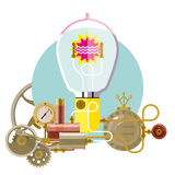 Start up concept, steampunk. Concept of new business project startup development and launch a new innovation and bright product Royalty Free Stock Photography
