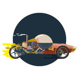 Start up concept, steampunk, racing car. Start up concept, steampunk, concept of new business project startup development and launch a new innovation and bright Royalty Free Stock Photo