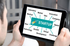 Start up concept on a tablet Stock Photos