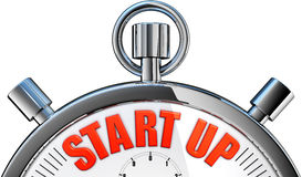 Start up. 3D rendering of a stop watch with a start up icon Royalty Free Stock Photography