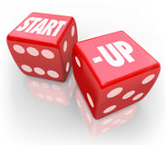 Start-Up Dice Rolling Chance Betting Future New Business. Start-Up words on two red dice to illustrate the risk and uncertainty of launching or starting a new Royalty Free Stock Photos