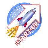 Start-up emblem with a rocket on the arrow pointing upwards, blue concentric circles  Stock Images