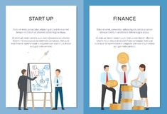 Start Up and Finance Collection of Cartoon Banners. Startup and finance collection of cartoon banners. Vector illustration of two men discussing new project and Stock Photos