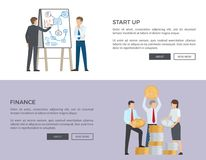 Start Up and Finance Web on Vector Illustration. Start up and finance, web pages of people planning business and colleagues holding silver and golden coins, text Royalty Free Stock Image