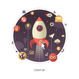 Start up flat design business infographics illustration, composition Royalty Free Stock Photography