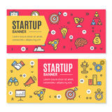 Start Up Flyer Banner Placard Set. Vector Royalty Free Stock Photo
