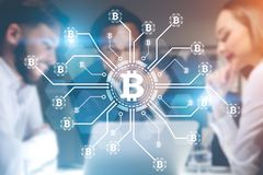 Start up founders, bitcoin network Royalty Free Stock Image
