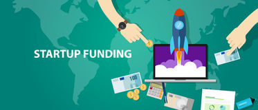 Start-up funding company launch rocket business investment money cash. Vector Royalty Free Stock Photography