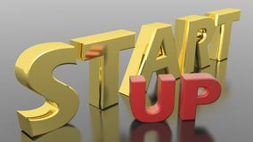 Start Up. In golden letters, on a metallic reflective plane Royalty Free Stock Photos