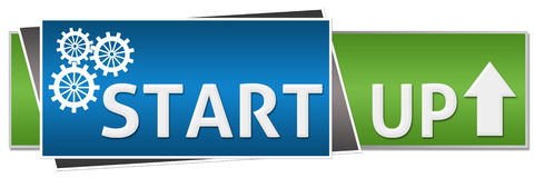 Start Up Green Blue Button Style Stock Photography