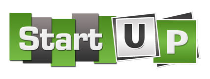 Start Up Green Grey Stripes Squares Horizontal Royalty Free Stock Photo
