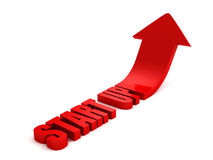 START up grow text letters red arrow. Success business concept 3d render illustration Stock Photos