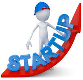 Start up. Guy with start up arrow Royalty Free Illustration