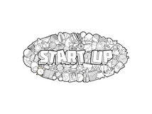 Start Up - Hand Lettering and Doodles Elements Sketch. Vector Illustration Royalty Free Stock Photography
