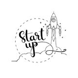Start up handwritten lettering. New business project startup dev Royalty Free Stock Image