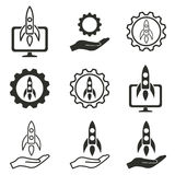 Start up icon set. Start up vector icons set. Black illustration isolated on white background for graphic and web design Royalty Free Illustration