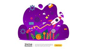 start up idea concept. project business with rocket tiny people character. new product or service launch template for web landing vector illustration