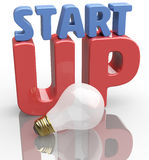 Start up idea light bulb word scene Stock Images