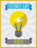 Start-up Idea. Retro poster in flat design style Royalty Free Stock Photo