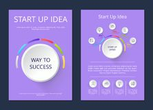 Start Up Idea Way to Success Vector Illustration. Start up idea, way to success, infographic of offer including icons, information and percentage vector Stock Photos