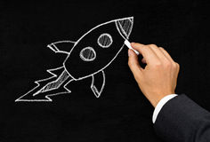 Start-up or innovation rocket drawing concept Royalty Free Stock Image