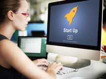 Start up Launch Homepage New Business Concept Stock Photo