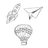 Start, up, launch, vector, illustration, set, sketch Royalty Free Stock Image