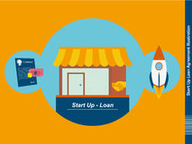 Start Up Loan Agreement Illustration. Illustration of the first Steps of an Start Up Royalty Free Stock Photo