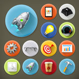 Start up, long shadow icons Stock Image