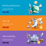 Start up marketing flat banners set Royalty Free Stock Photo