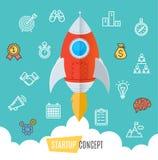 Start Up Motivation Concept Flat. Vector. Start Up Motivation Concept Rocket Fly in Sky Flat Design Style. Vector illustration Stock Image