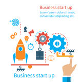 Start up new business project. Flat design, vector illustration. Start up business concept. Icons and symbols of business planning, strategy and start-up. The Royalty Free Stock Photo