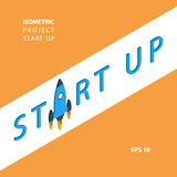 Start up new business project or idea. Isometric presentation poster background. Stock Images