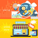 Start up and online store icons Royalty Free Stock Photo