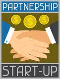 Start-up Partnership. Retro poster in flat design Stock Photography